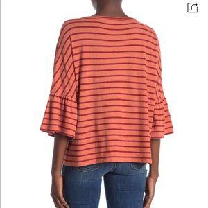 Madewell Tops - MADEWELL Stripe Flare Sleeve Tee shirt dahlia NWT